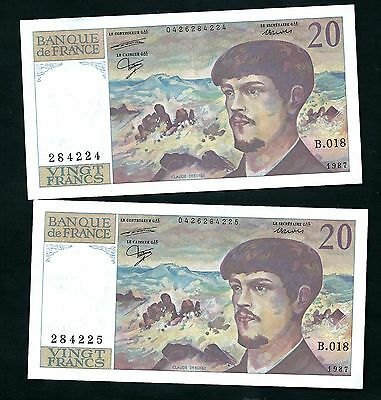 France (P151b) 20 Francs 1987 x 2 Consecutive Serial Numbers VF+
