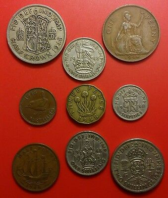 69th Birthday 1948 George VI British Pre-Decimal Coins Set  in Prot Wallet