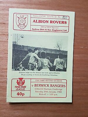 ***ALBION ROVERS v BERWICK RANGERS 1987/88~SCOTTISH SECOND DIVISION~FREE POST***
