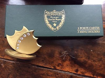 Set of 3 menu, place cards holders Champagne Dom Perignon