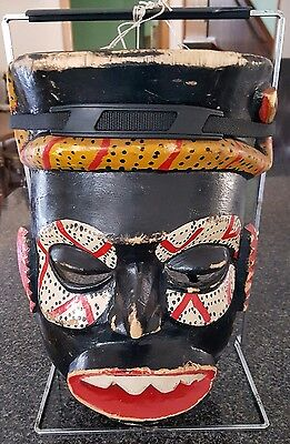 Vintage African Hand-Carved Face Mask - Tanzania
