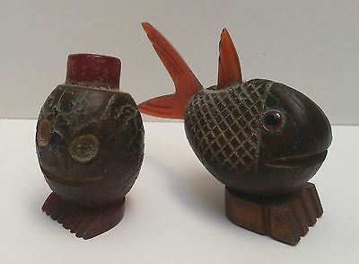 Vintage Fish and Man Figures Made From Nuts and Bakelite