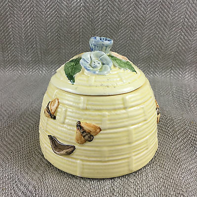 Vintage Beehive Honey Pot Jar Hand Painted Pottery Bees Bee Conserve Jam