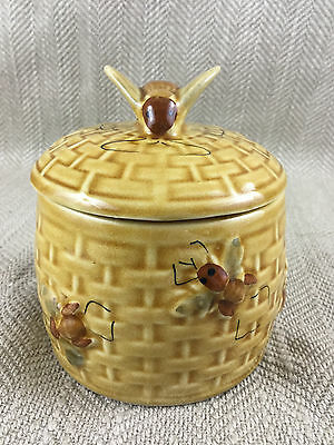 Vintage Beehive Honey Pot Jar Hand Painted Pottery Bees Bee Conserve VTG