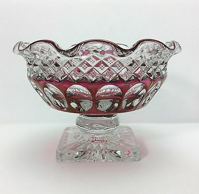 """Vintage Westmoreland Cranberry Red Thumbprint Pedestal Candy Nut Dish-3 1/4"""" Tal"""