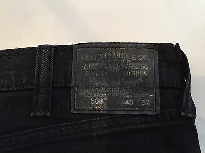 Levi 508 Taper Slim Black Denim Jeans 40W 32L Red Label