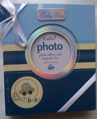 Baby Boy B is for Beep blue photo album and keepsake box Holds 120 Photos
