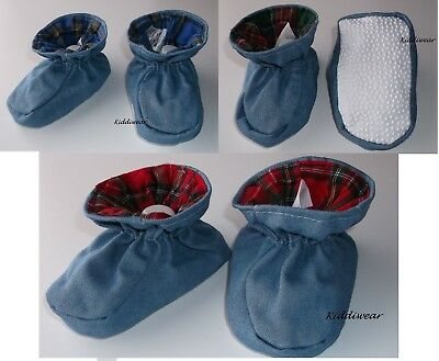 Baby Booties 6 12 18 months blue denim tartan padder slipper boy girl unisex