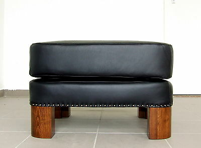 Art Deco Black Leather Footstool, Pouffe, Ottoman. Foot Stool New Upholstery.