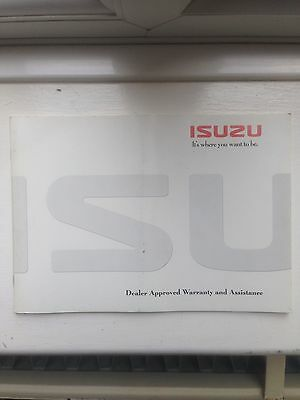 Izuzu Dealer Approved Warranty And Assistance And Service Book. GENUINE PRODUCT