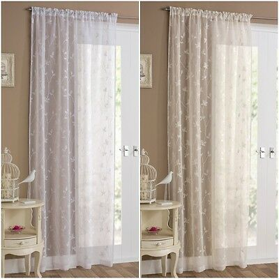 Ready Made Embroidered Floral Slot Top / Rod Pocket Voile Curtains / Door Panels