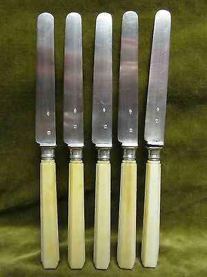 mid 19th c french sterling 950 silver & bone of bovid 5 fruit knives