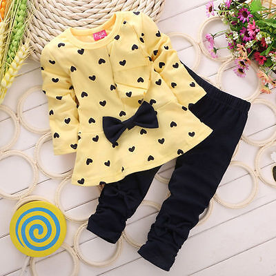 Newborn Baby Girls Cotton T-Shirt Tops Pants Outfits Toddler Kids Clothes