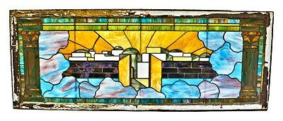 All Original Scenic Stained Glass Window From 1905 Chicago Residence