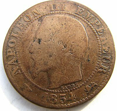 1854 France coin - 25mm dia. ( 5 or 10 centimes) - Circulated