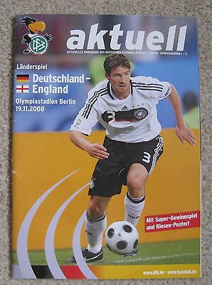 Germany v England 19.11.2008 Programme with poster