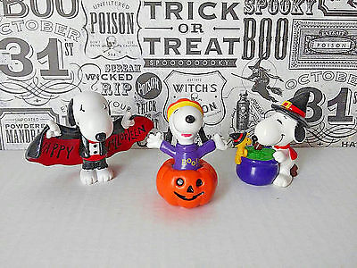 Vintage Snoopy Halloween Figures PVC Witch Dracula Pumpkin Peanuts Gang Lot of 3