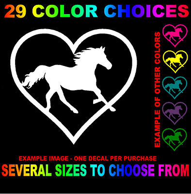 Horse Heart Love Decal Sticker Shoe Pony Trailer & Windows Equine Equestrian Ajc