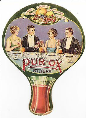 ORIGINAL 1920s PUR-OX FOUNTAIN SYRUPS FAN CARDBOARD SIGN/USA LANCASTER PA.