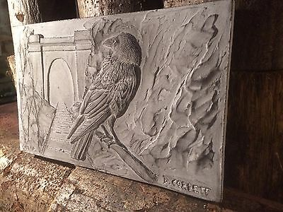 Beautiful stone crow wall sculpture, bird artwork signed by artist, bird plaque