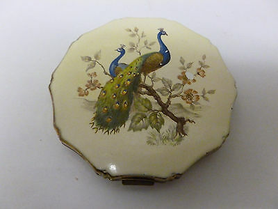 Vintage Kigu Convertible Powder Compact with Peacocks Design