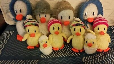 HAND KNITTED EASTER CHICK /DUCK FAMILY x2