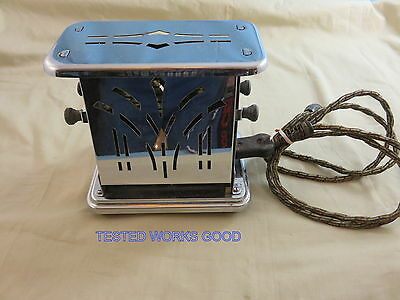 Vintage Antique Universal Two Sided Toaster rare design on lids chrome & cord