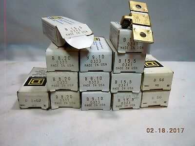 Square D Overload Relay Thermal Unit Assorted Sizes B ( NEW OLD STOCK)