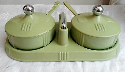 Art Deco green bakelite preserve set by Seaforth Mint condition. Very rare set