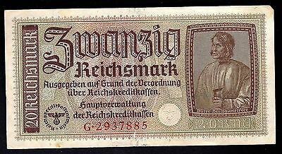 Germany WW2 occupied territories 20 Reichsmark Banknote