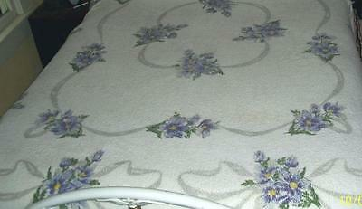Rare Vintage 40s Chic Print Chenille Bedspread Lavender Tropical Flowers Ribbons