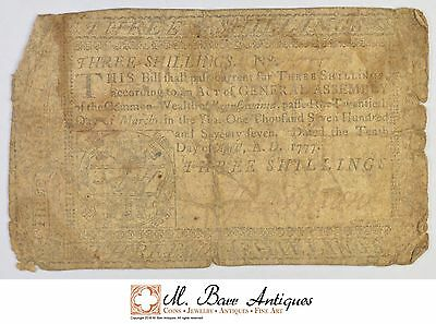 1777 3 Shillings Pennsylvania Colonial Currency *388