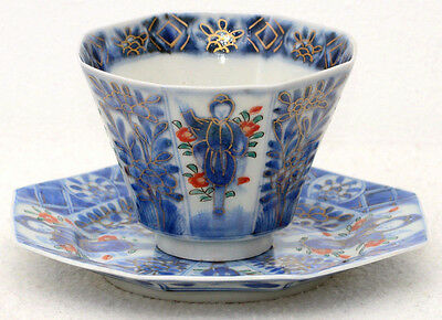 Pristine and rare 19th century Japanese Kangxi revival cup and saucer