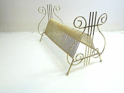 Vintage Mid Century Gold Metal Wire Record Holder / Harp Scroll Decorative Ends