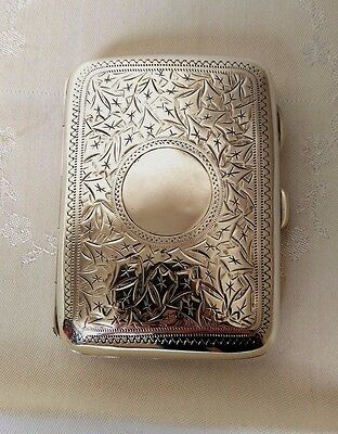 Victorian silver curved backed cigarette case by William Thorneywork 1898