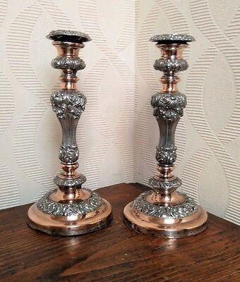 Pair of ornate silver plate on copper Baluster Form Candlesticks probably 19th C