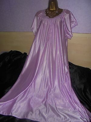 Stunning   vtg Glossy silky nightie dress slip  gown negligee nightdress 20