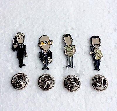 Danny Boyle's Trainspotting Pin Badge Set. A Guy Called Minty, Rosso Bianco Nero