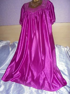 Stunning   vtg Glossy silky nightie dress slip  gown negligee nightdress 20/22