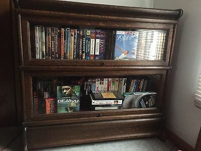 Antique Quartersawn Oak Barrister Bookcases With Top Cap And Bottom Stand