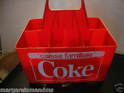 Rare French Vintage Plastic COCA-COLA RED 6-PACK 64OZ Coke Bottles Vtg Carrier