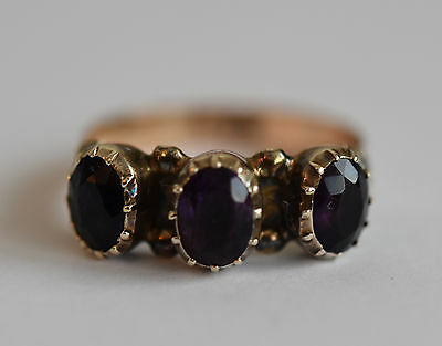 Fine Victorian 9ct gold and silver amethyst three stone ring