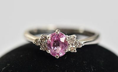 Exceptional 9ct white gold pink sapphire and diamond engagement ring & box