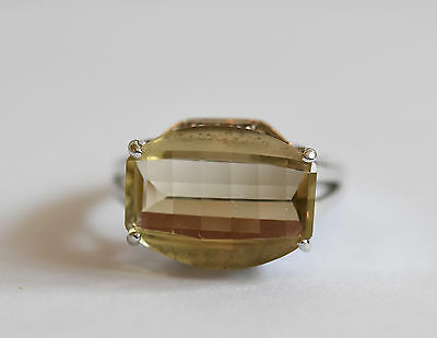 Art Deco design 9ct white gold faceted citrine and diamond ring