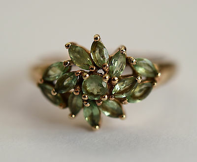 Fine 9ct gold peridot cluster ring