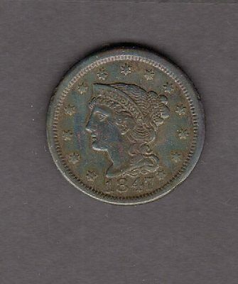 US 1847 Braided Hair Large Cent Coin in XF Extra Fine Condition