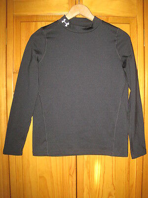 Under Armour Fitted Cold Gear shirt YLG L black running skiing winter hockey