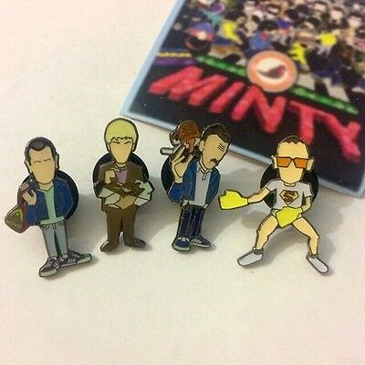 Danny Boyle's Trainspotting 2 Pin Badge Set A Guy Called Minty Rosso Bianco Nero