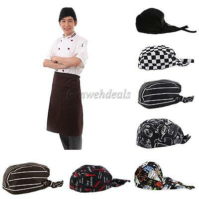 Unisex Catering Chef's Headwrap Bandana Hat Head Do Tied Caps