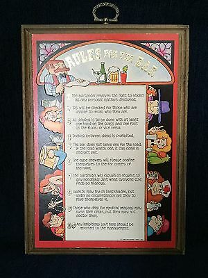 "Vintage ""Rules For The Bar"" Wall Hanging Plaque Humorous 1980 Hallmark"